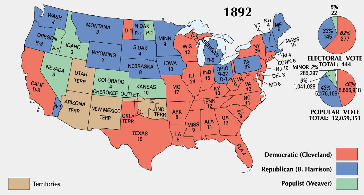 US History Question Of The Day - Us party map
