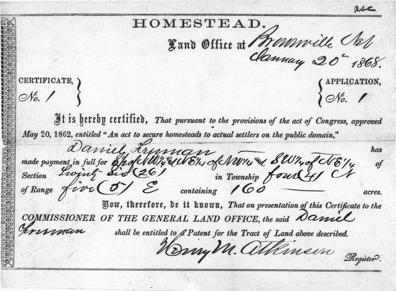 (A) the Homestead Act provided 160 acres of land virtually free to any