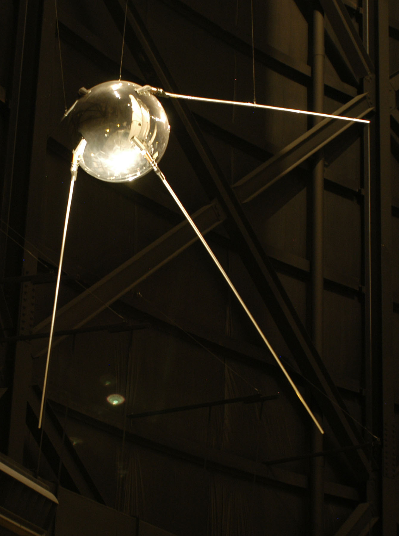 Sputnik, model hanging in Smithsonian Air & Space Museum (Wikimedia photo via Polytechnic U.S. History)