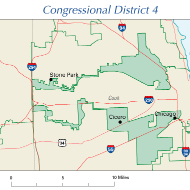 "An example of a ""gerrymandered"" district, Illinois, 2005 - (Source:Wikimedia Commons--public domain)"