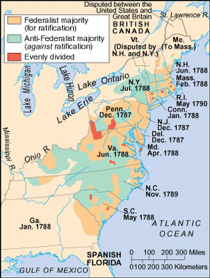 US History Question Of The Day Answer Explanation - Map of us in 1787